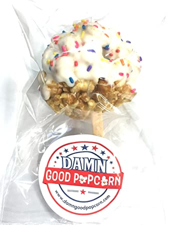 12 Gourmet Birthday Cake Flavored Popcorn Balls With White Chocolate