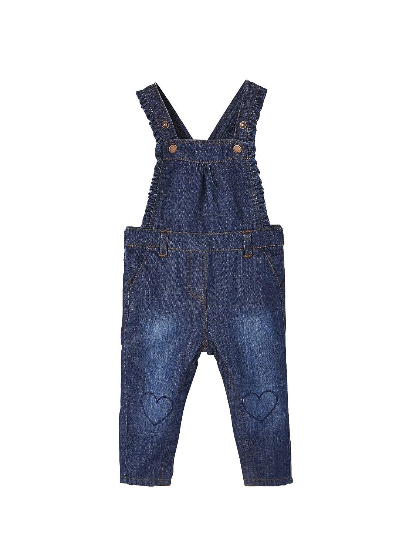 Vertbaudet Salopette bébé fille en jean et petits volants