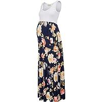 Kate Kasin Maternity Tank Dress Sleeveless Stripe Long Tube Dress