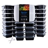 Bentibo 20 Piece 3 Compartment Meal Prep Food Storage Containers with Lids Divided Bento Lunch Boxes, Portion Control, Dishwasher/Microwave Safe Cover Plates, 20 Sporks, 36 oz.