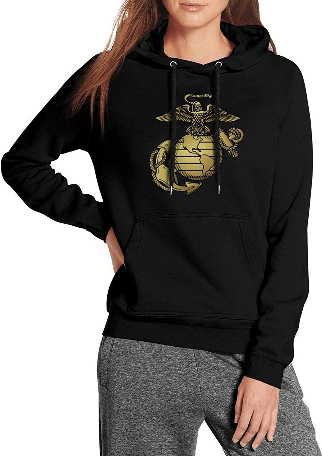 ZJING United States Marine Corps Emblem Womens Hoodie Cute Comfortable Pullover Hooded Sweatshirt