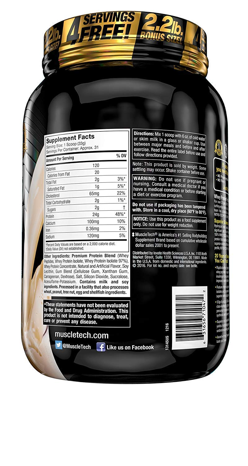 Amazon.com: MuscleTech NitroTech Whey Gold, 100% Whey Protein Powder, Whey Isolate and Whey Peptides, Vanilla, 2.2 Pound: Health & Personal Care