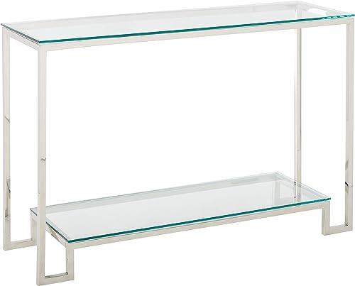 Cortesi Home Reef Contemporary 2 Shelf Glass Console Table, Silver