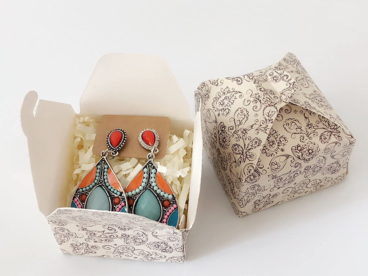 Gift Ready: paper box and paper confetti included Spring Summer Coral Blue Drop Earrings