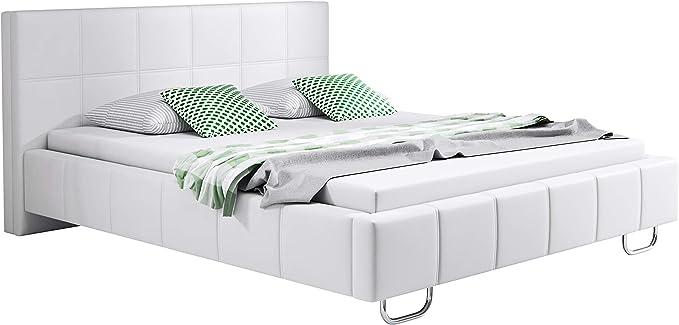 muebles bonitos Cama de Matrimonio Moderna Sofia con somier de láminas para colchón de 150x190cm Blanco diseño Italiano Elegante
