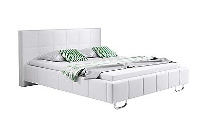 muebles bonitos Cama de Matrimonio Moderna Sofia con somier de láminas para colchón de 150x190cm Blanco