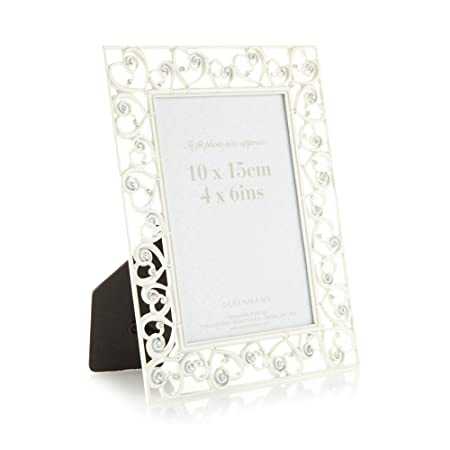 Home Collection Silver Brushed Diamante Heart Photo Frame 8 X 10 ...