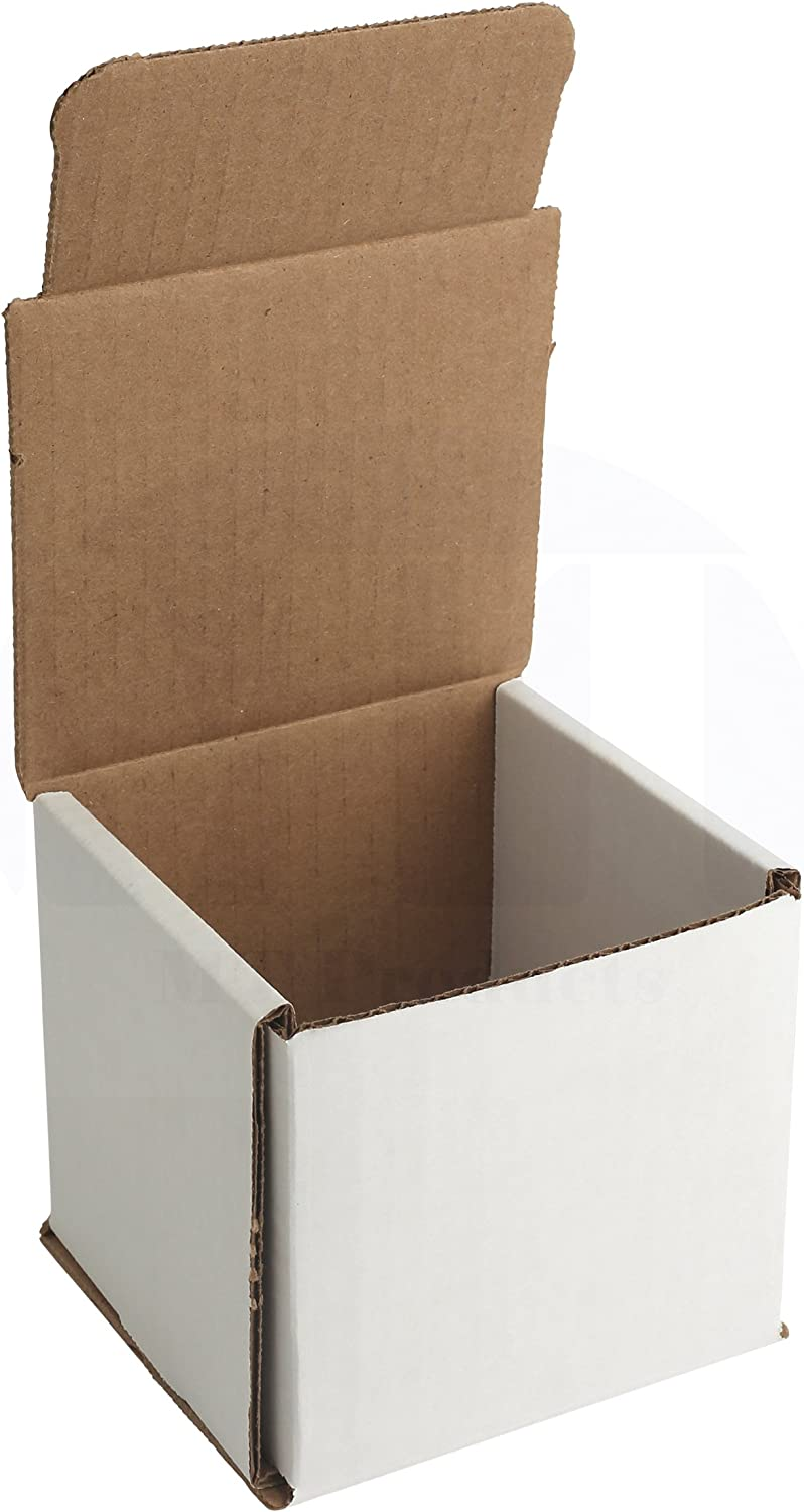 "White Corrugated Shipping Boxes/Mailers 4"" x 4"" x 4"" for Storing or Shipping Smaller Items Double Wall Crush Resistant by MT Products (10 Pieces) : Office Products"