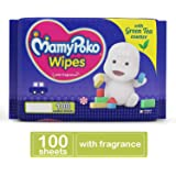 MamyPoko Wipes with Green Tea Essence - Pack of 100 Wipes with Fragrance (100 Wipes)