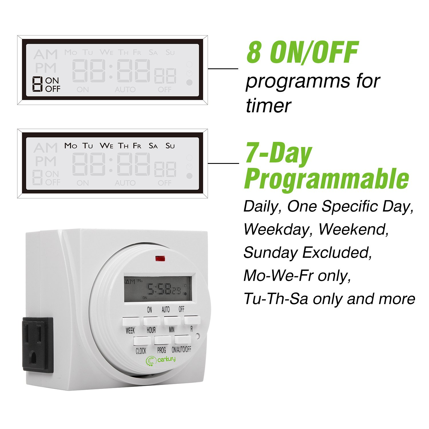 Century 7 Day Heavy Duty Digital Programmable Timer Dual Outlet Three Hour Indoor
