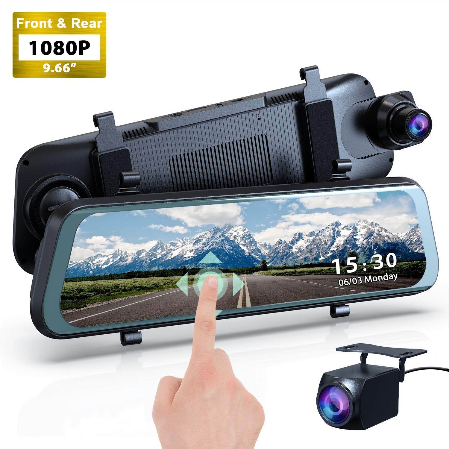 Mirror Dash Cam Backup Camera, 1080P HD 9.66'' Streaming Media Full Touch Screen Car Camera Featured with 170° Front Camera, 160° Wide Angle Rear Camera, Night Vision, G-Sensor, WDR, Parking Monitor