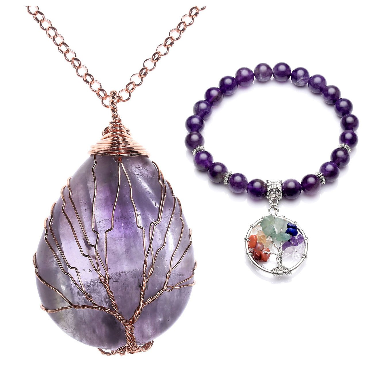 Top Plaza Natural Healing Crystal Chakra Tree of Life Wire Wrap Water Drop Pendant Necklace Bracelet Jewelry Set(Amethyst #2)