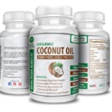 Organic Coconut Oil Capsules 2000mg - 100% Extra Virgin, Cold Pressed for Healthy Skin, Extra Hair Growth, Nail Care…