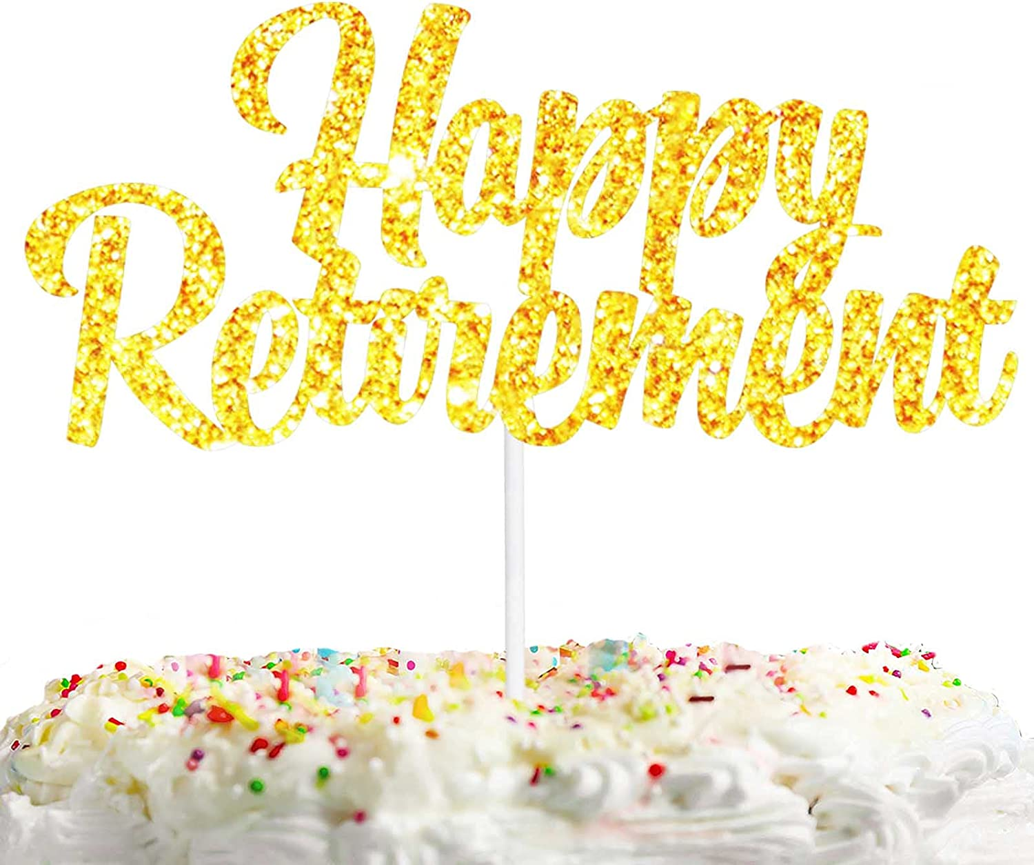 Happy Retirement Cake Topper Gold Glitter Celebrate Theme Decorations Man Woman Officially Retire Birthday Party Decor Supplies