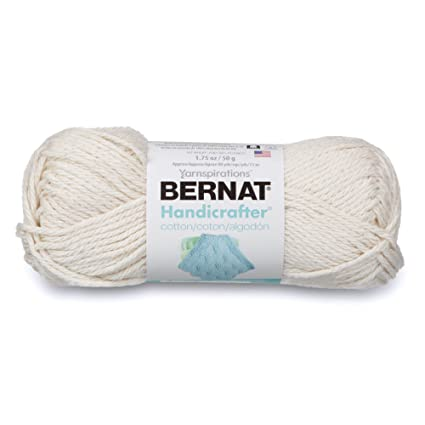 Bernat Handicrafter Cotton Solids Yarn, 1 75 oz, Gauge 4 Medium, 100%  Cotton, Off White