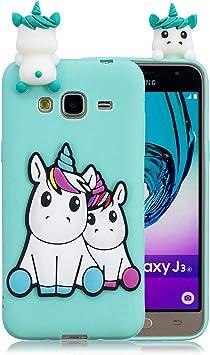 Funluna Coque Samsung Galaxy J3 2016, 3D Licorne Motif Ultra Fine TPU Housse Flexible Souple Silicone Etui Coque de Protection pour Samsung Galaxy J3 ...