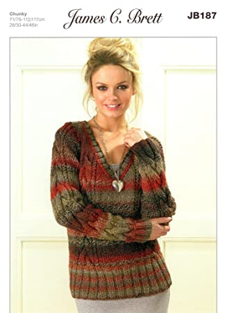 Ladies Cabled V Neck Sweaters Jb187 Knitting Pattern In James C