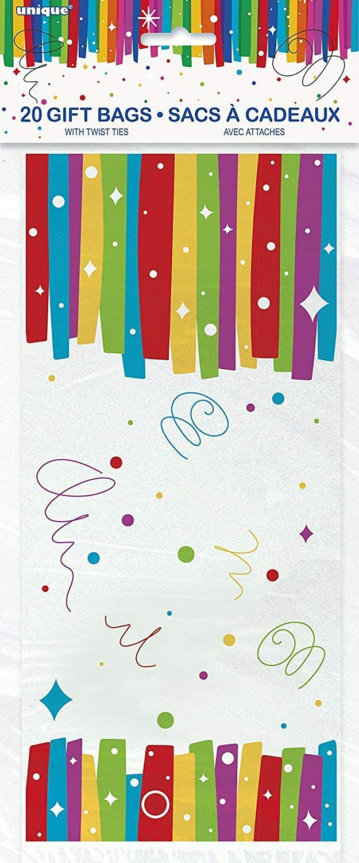 Unique Party- Bolsas de Regalo de Celofán, 20 Unidades, Multicolor (49573)