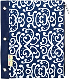 Dani Navy Blue Damask 11 x 9 Polyester Fabric Zip Binder Pouch Pencil Bag
