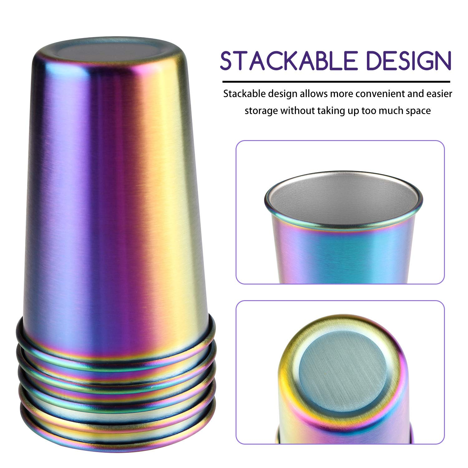 Rainbow Party Cups, Kereda Stainless Steel Cups 16oz 5-Pack Premium Drinking Glasses Unbreakable Colorful Tumblers BPA Free Eco Friendly by KEREDA (Image #2)
