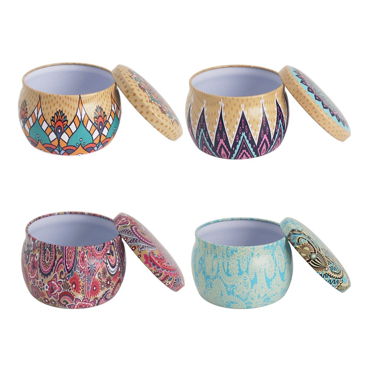 Misscrafts 4pcs Candle Tin Jars Empty Reusable Tin Cups Candy Containers for DIY Homemade Tealights Dry Storage Spices Party Favors Sweets Gifts 6oz