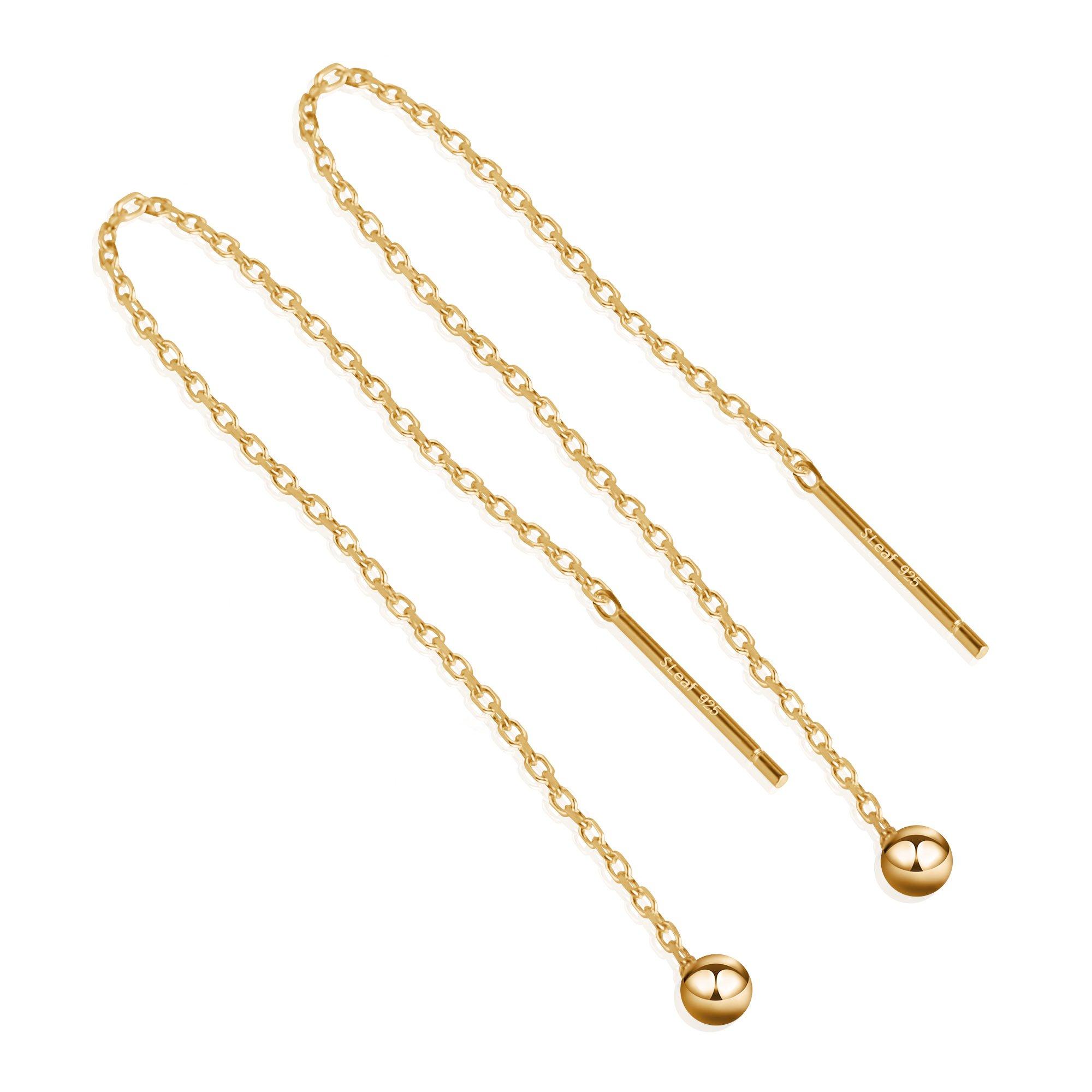 S.Leaf Minimalism Threader Tassel Earrings Sterling Silver Tiny Ball Drop Long Chain Earrings (9 CM/Gold)