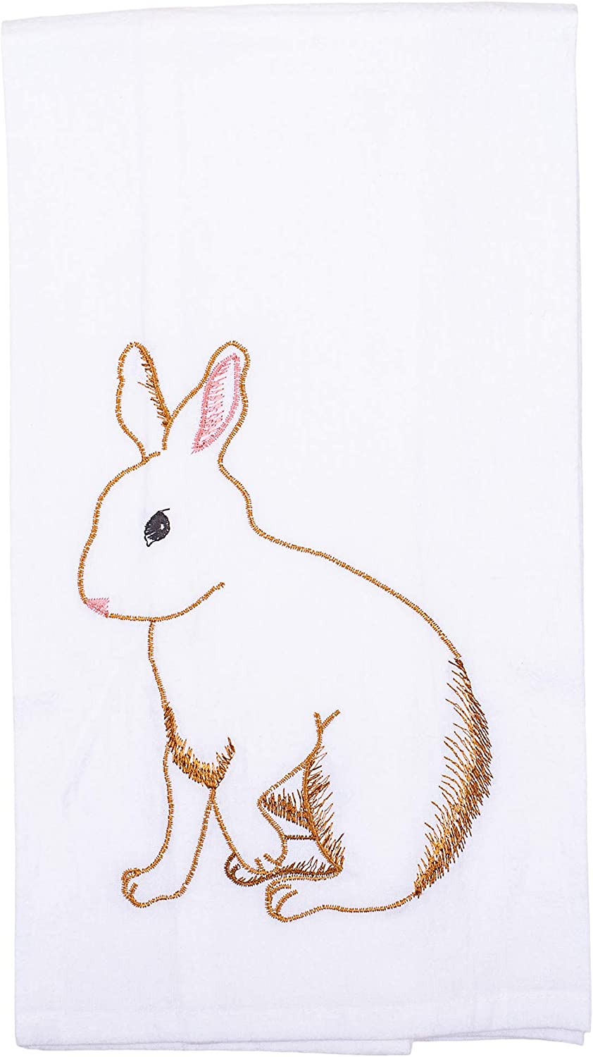 Watercolor Brown Bunny Butterfly 18 x 27 Cotton Hanging Kitchen Hand Towel