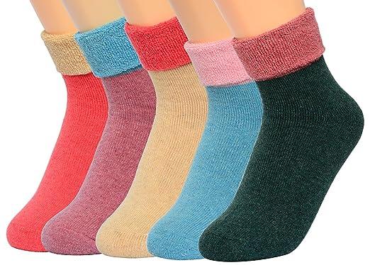 Women's Terry Crew Socks Winter Outdoor Cotton Wool Turn Cuff Socks (5 Pairs)