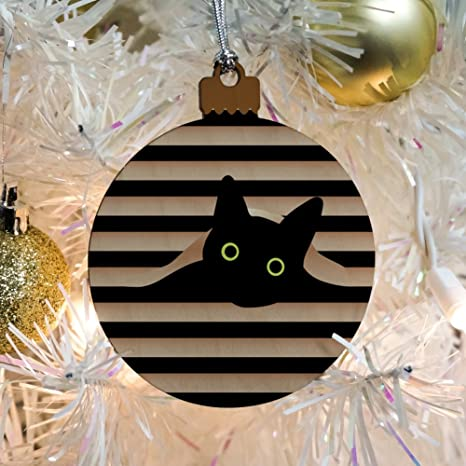 amazoncom black cat in window wood christmas tree holiday ornament home kitchen
