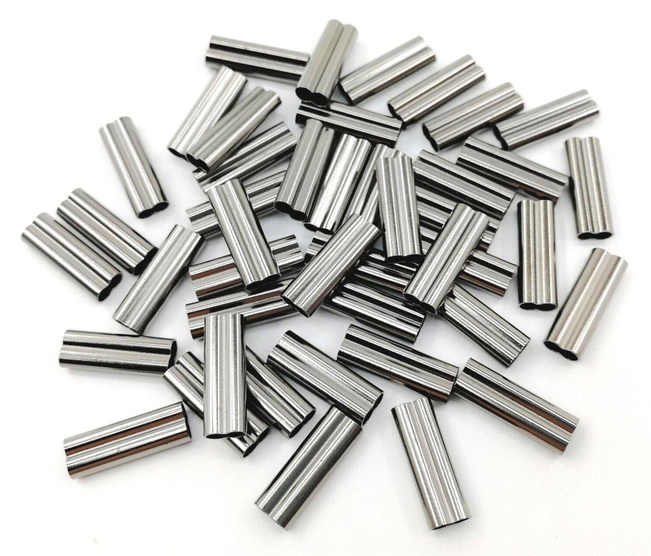 ダブルバレル圧着スリーブブラック色強力な真鍮銅パイプチューブコネクタ釣りワイヤ釣りラインアクセサリー B072V5J4MV 0.8mm (Pack of 100)