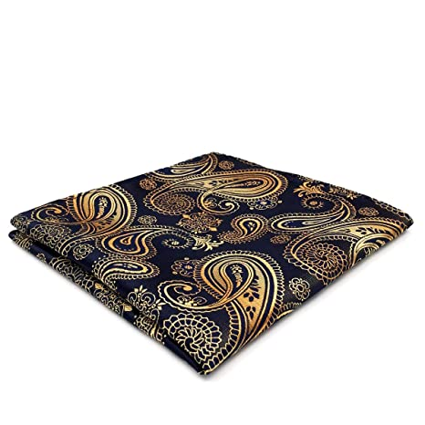 9fdf215ea6ef Shlax&Wing Paisley Black Gold Pocket Square Mens Ties Silk Hankies  Handkerchief: Amazon.ca: Luggage & Bags