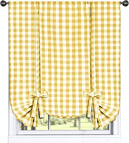 Woven Trends Farmhouse Curtains Kitchen D cor, Buffalo Plaid Shades, Classic Country Plaid Gingham Checkered Design, Farmhouse D cor, Window Curtain Treatments Yellow, Tie-Up Shade