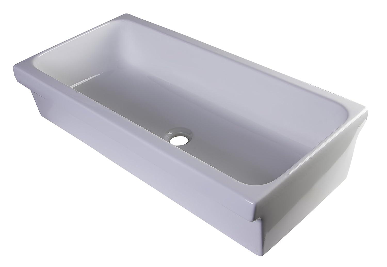 "ALFI brand AB36TR Bathroom Trough Sinks, 36"", White"