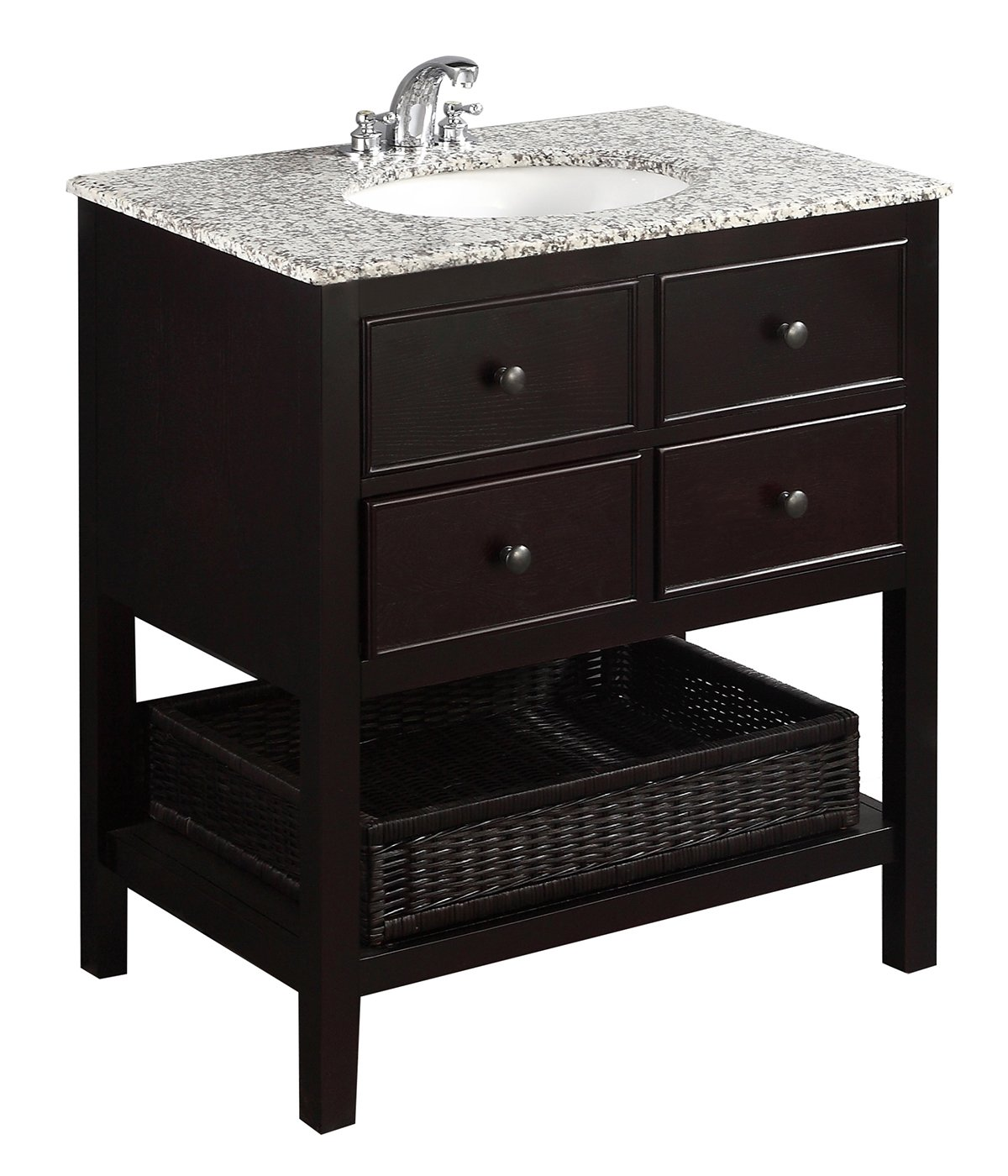 Simpli Home NL-DAVENPORT-EB-30-2A Burnaby 30 inch Contemporary Bath Vanity in Espresso with Dappled Grey Granite Top