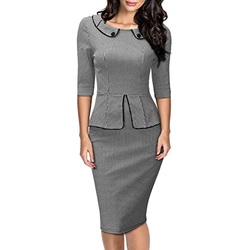 MIUSOL Womens Houndstooth Lapel Ruffle Pencil Party Dress