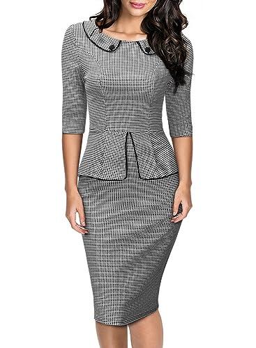 Miusol Women's Retro Neck Houndstooth-Print Peplum 1/2 Sleeve Formal Pencil Dress
