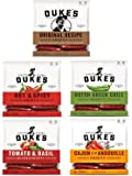 Dukes Smoked Sausages 5 Flavors 7 G protein - Original Recipe 5 oz, Hot & Spicey 5 oz, Hatch Green Chile 5 oz, Tomato & Basil 4 oz, Cajun style Andouille 5 oz