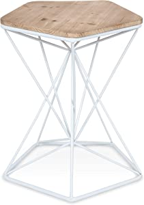 Kate and Laurel Ulane Modern Side Accent Table with Geometric Metal Base and Unfinished Natural Wood Top, White
