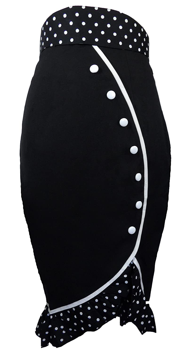 (XS-28) Deadly Tulip - Black 50s 60s Pencil Polka-Dot Pinup Retro High Waist Skirt