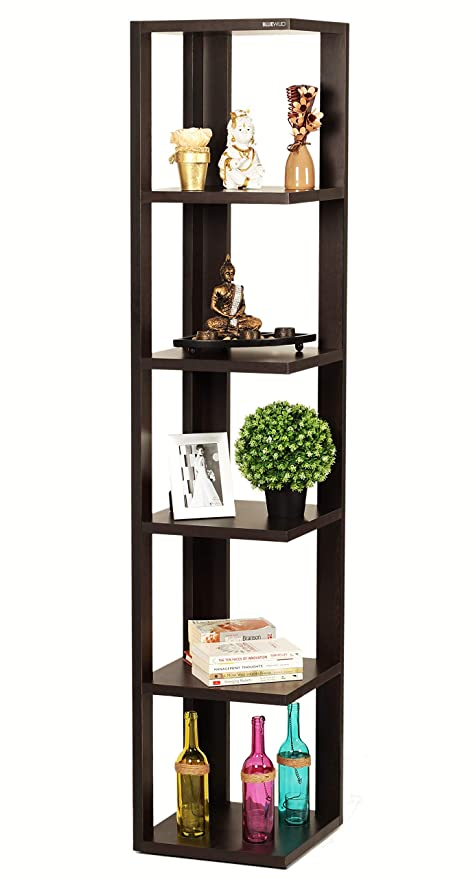 Bluewud Albert Floor Standing Corner Wall Shelf/Display Rack (6 Shelves)
