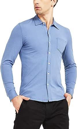 Safort Men's Basic Stretch Button Down Shirt with Long Sleeve Slim Fit Dress Shirt