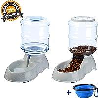 Dispensador de Agua Automático para Mascotas de Gatos /Perros  3.75L x 2 Piezas Preservador de Alimentos y Agua Prácticamente Cuenco Plegable para Perros Incluido