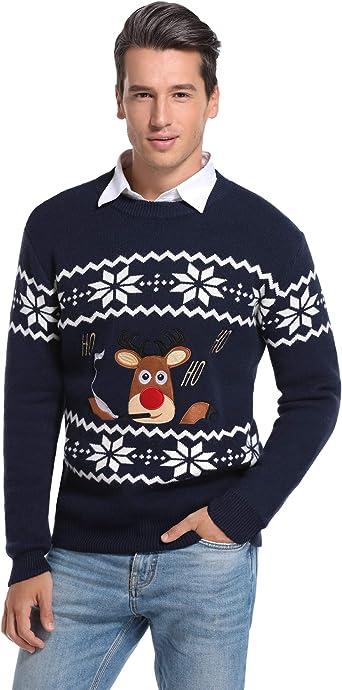 Neu Gestrickt Herren Damen Lustiges Weihnachten Pullover Sweatshirt Santa Retro