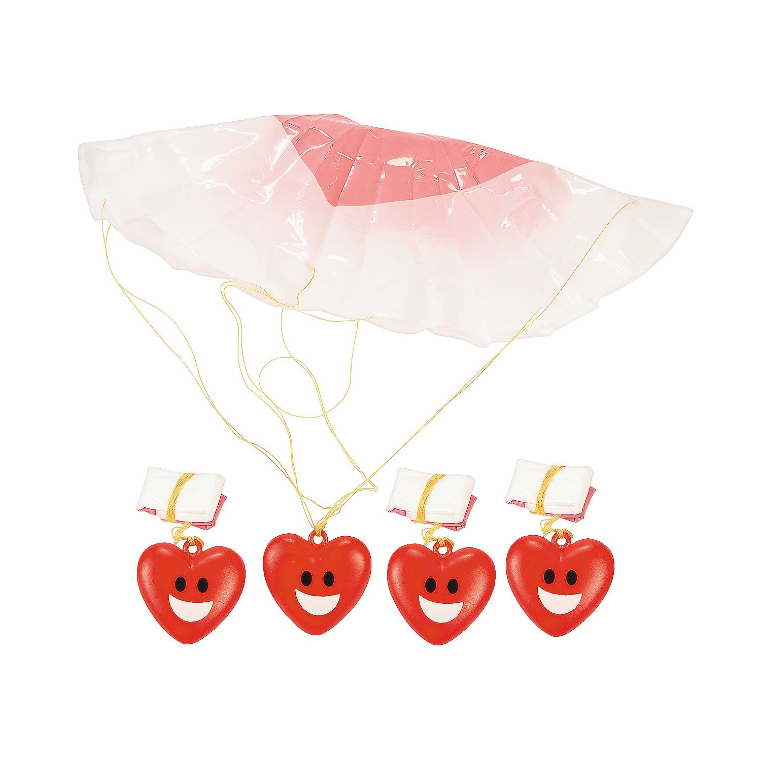 Fun Express - Valentine Paratrooper for Valentine's Day - Toys - Character Toys - Wind Ups & Paratroopers - Valentine's Day - 48 Pieces by Fun Express