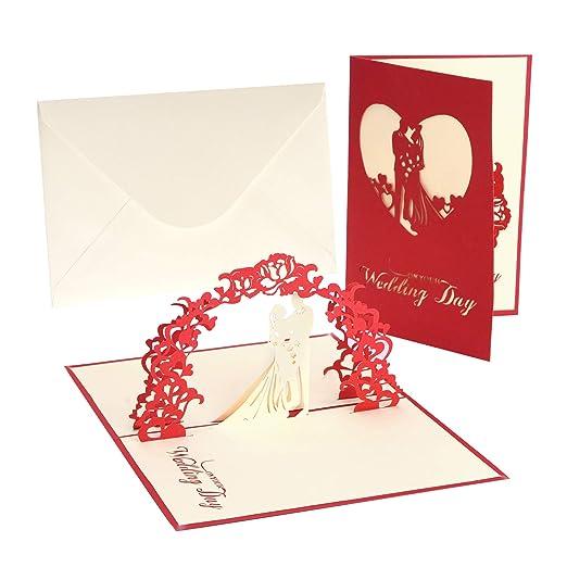 Tarjeta de boda, tarjetas de felicitación con sobre, tarjeta de boda Flor decorativa, tarjeta emergente de felicitación e invitación