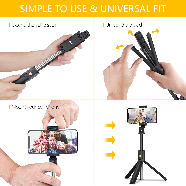 Gritin 3 en 1 Selfie Stick Tr/épied B/âton Selfie Bluetooth Extensible T/élescopique Monopode R/églable avec T/él/écommande Amovible /& Support Stable pour iPhone Perche Selfie Bluetooth Huawei Galaxy