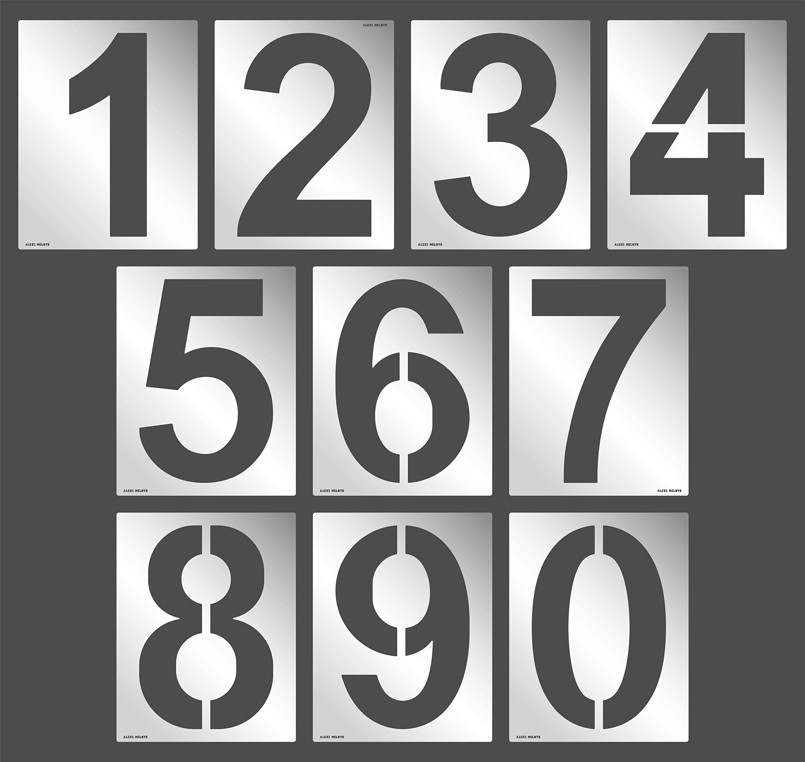 Aleks Melnyk #64 Large Numbers / 10 Piece Number Kit/Metal Templates/Stainless Steel Stencils - Font Height Size 12''