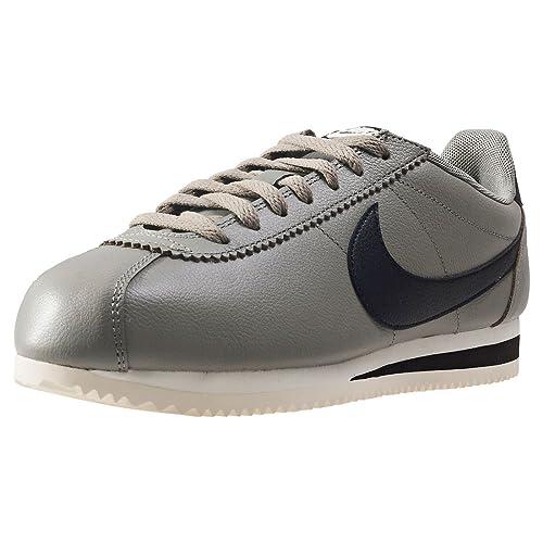 9b23900a9d8 Nike Zapatos Unisex Cortez Leather Se EN Cuero Gris y Negro 861535-007   Amazon.es  Zapatos y complementos