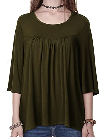75c7e6df94b Regna X Boho for Woman's Shirring Point Stretch Comfortable fit Olive Green  Small Round Neck 3