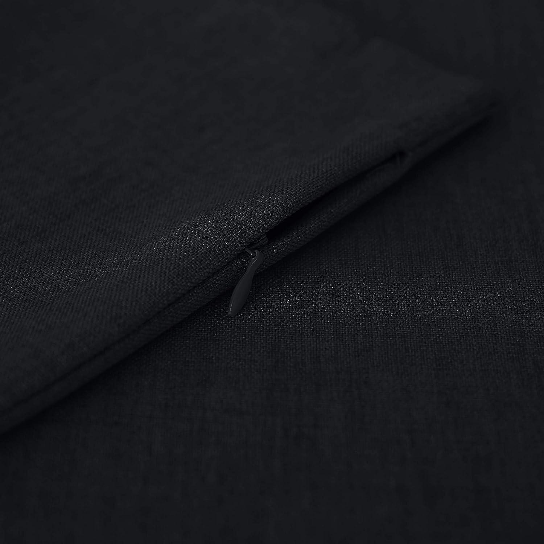 Deconovo Federa per Cuscino 4 Confezione di Lino Decorativa Federa 40x40 CM 4 PCS Nero